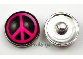 Bouton pression verre Peace & Love rose et noir