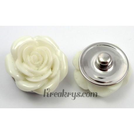 Bouton pression Rose blanche