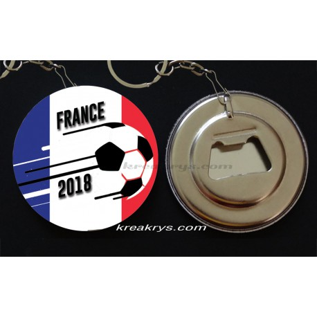 Badge 58 mm Porte Clé Décapsuleur Coupe du Monde de Foot 2018 : France