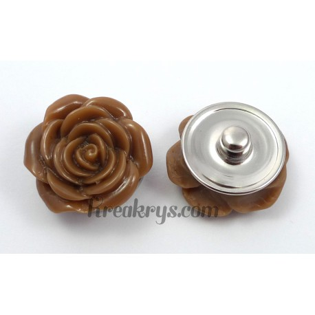 Bouton pression rose marron clair