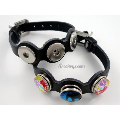Bracelet cuir noir trois pressions