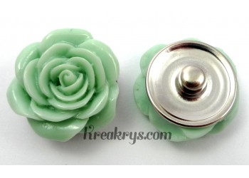 Bouton pression Rose verte pale