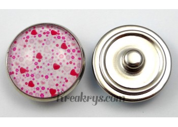 Bouton pression Cœurs roses