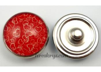 Bouton pression Cœurs rouges
