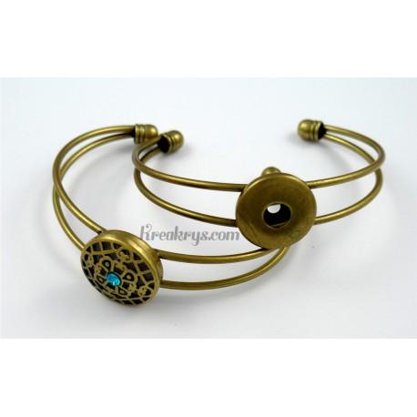 Bracelet simple pression métal, couleur bronze