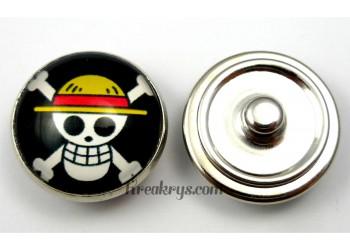 Bouton pression pirate manga Chapeau paille