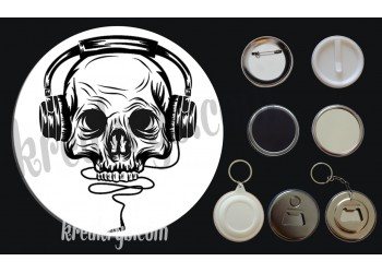 Badge Collection Rock : Skull Music
