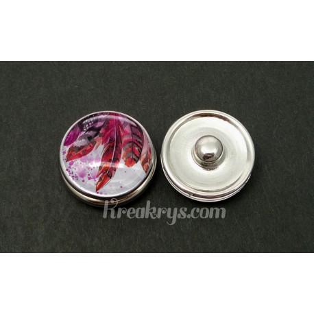 Bouton pression plumes peintes violette et rouge