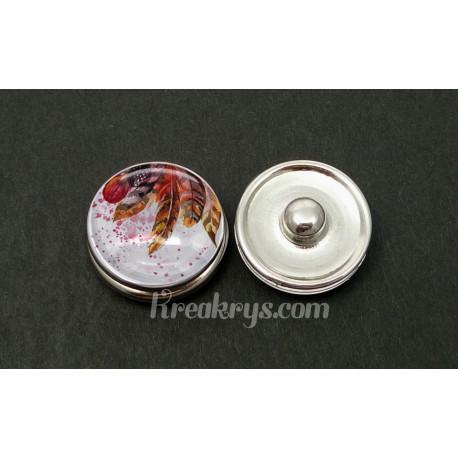 Bouton pression verre plumes peintes dans les tons orange et marrons