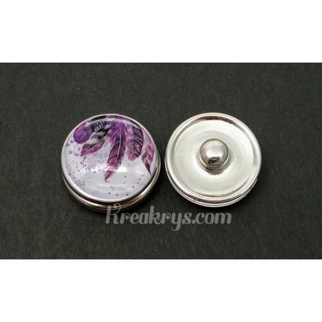Bouton pression verre plumes peintes dans les tons violets