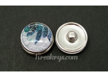 Bouton pression verre plumes peintes dans les tons bleus