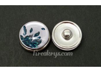 Bouton pression verre petites plumes noires, bleues et turquoises