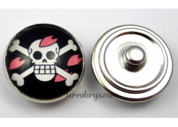 Bouton pression pirate Fleur rose