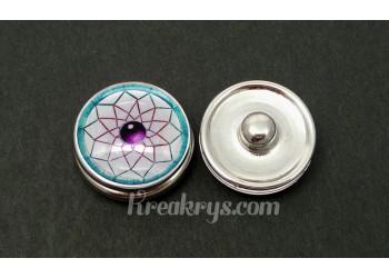 Bouton pression verre bohème attrape rêves turquoise et violet