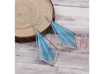Boucles d'Oreilles Style Bohème Losange Fil Enroulé Dégradé de Bleu-Turquoise