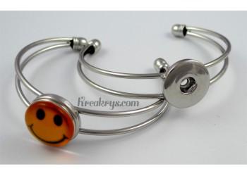 Bracelet simple pression métal, couleur argent