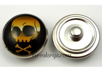 Bouton pression pirate crâne doré