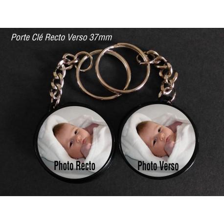 Badge 37 mm Porte clé Recto Verso à Personnaliser avec deux PHOTOS