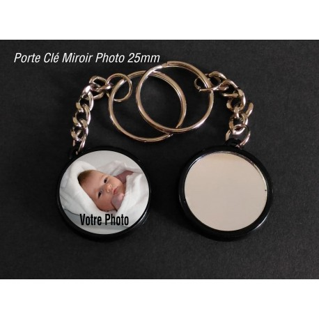 Badge 25 mm Porte clé Miroir à Personnaliser avec une Photo