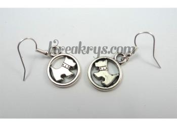 Boucles d'oreilles Charm's argentée chien