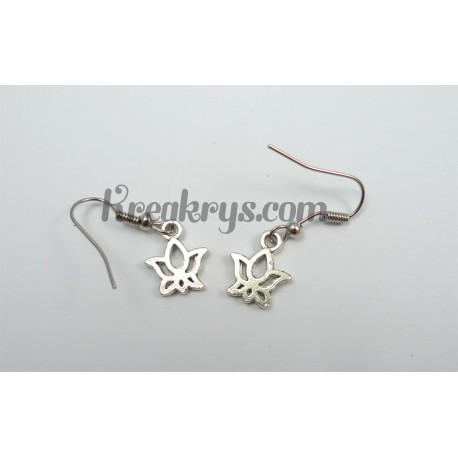 Fantaisie Boucles d'oreilles Charm's argentées lotus