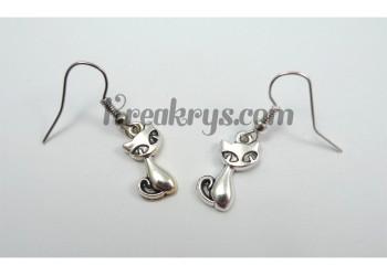 Boucles d'oreilles Charm's argentées chats