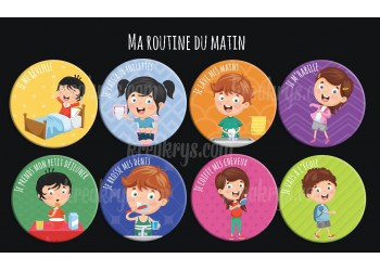 "Badge 25 mm Magnet collection ""Ma routine"" : lot ma routine du matin"