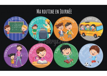 "Badge 25 mm Magnet collection ""Ma routine"" : lot ma routine de la journée"