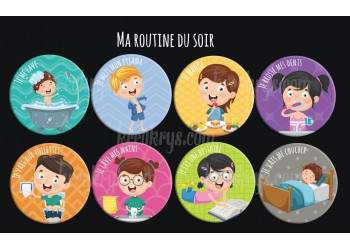 "Badge 25 mm Magnet collection ""Ma routine"" : lot ma routine du soir"