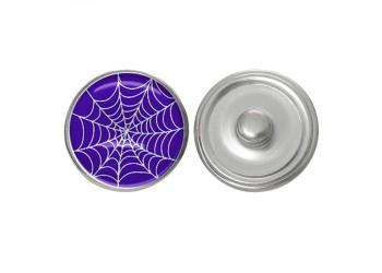 Bouton pression verre Halloween : toile d'araignée sur fond violet