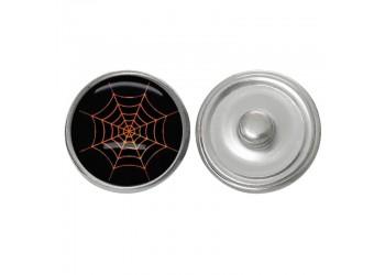 Bouton pression verre Halloween : toile d'araignée orange sur fond noir