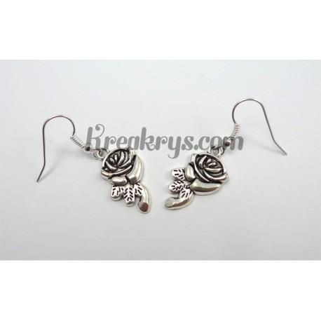 Fantaisie Boucles d'oreilles Charm's argentées rose