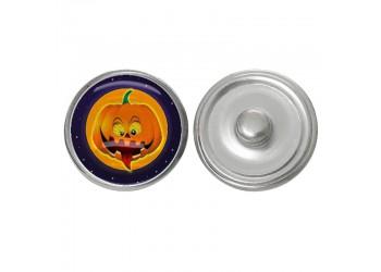 Bouton pression verre Halloween : Jack o'lantern
