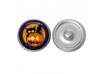 Bouton pression verre Halloween : Chat et Jack o'lantern