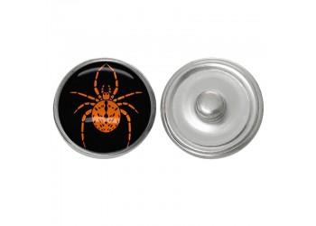 Bouton pression verre Halloween : araignée orange sur fond noir