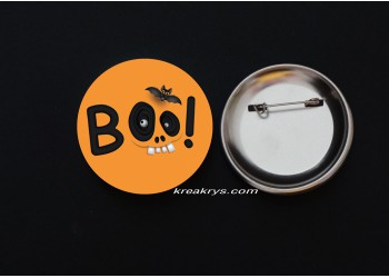 Badge Broche épingle Halloween Boo!