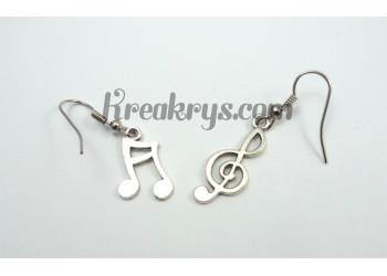 Boucles d'oreilles Charm's argentées note de musique