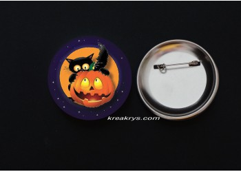 Badge Broche épingle Halloween Chat derrière une Citrouille