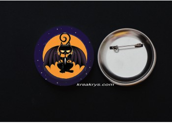 Badge Broche épingle Halloween Chat vampire