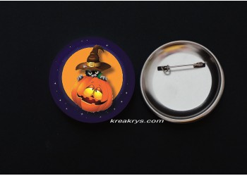 Badge Broche épingle Halloween Chat sorcière et citrouille
