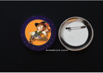 Badge Broche épingle Halloween Sorcière Pin Up