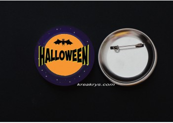 Badge Broche épingle Halloween chauve souris
