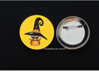 Badge Broche épingle Halloween Chouette sorcière
