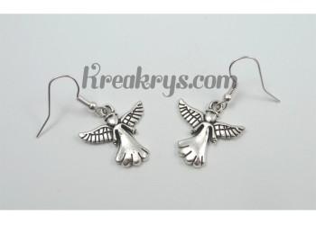 Boucles d'oreilles Charm's argentées ange