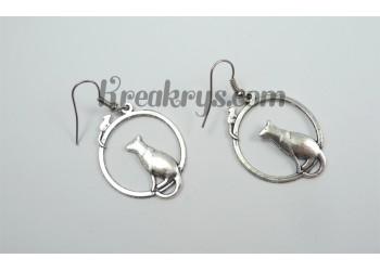 Boucles d'oreilles Charm's argentées chat et souris