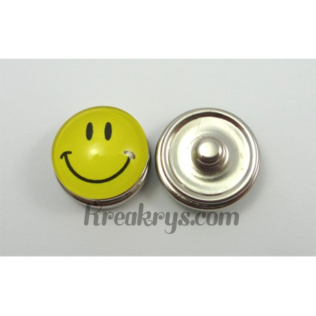 Bouton pression Smiley jaune sourire