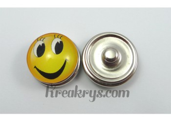 Bouton pression Smiley jaune grand yeux