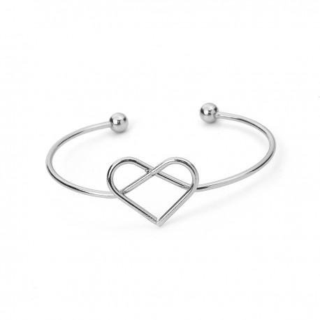 Bracelet Manchette Cœur Argenté
