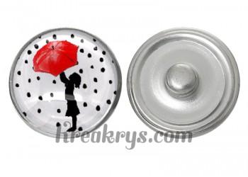 """Bouton pression verre """"Un Petit Coin de Parapluie"""" : Enfant et parapluie rouge"""
