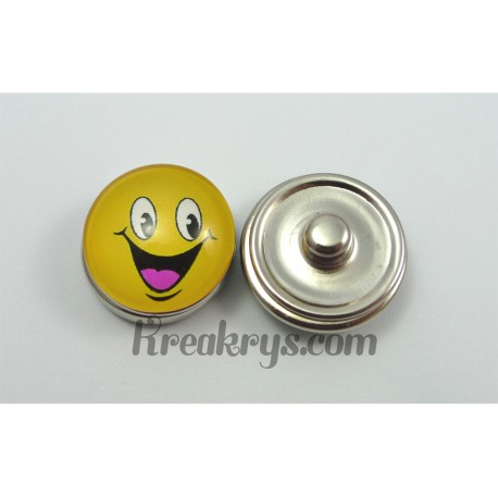 Bouton pression Smiley jaune grand sourire